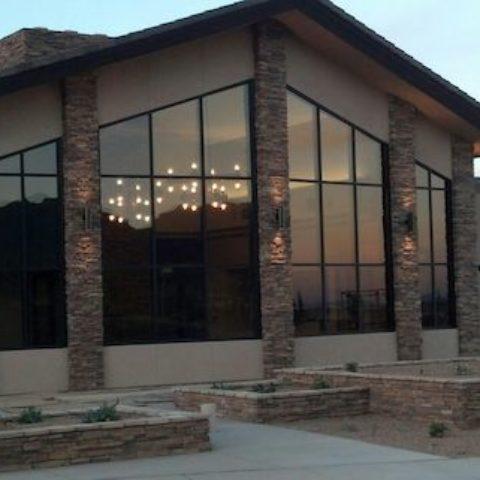 MVC Community Center Exterior at Dusk